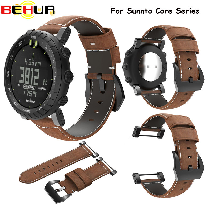 Genuine Leather Watchband Bracelet 21CM Watch Strap Belt Wristband Accessories Watch Bracelet Strap Band For Suunto Core #EW women crocodile leather watch strap for vacheron constantin melisa longines men genuine leather bracelet watchband montre