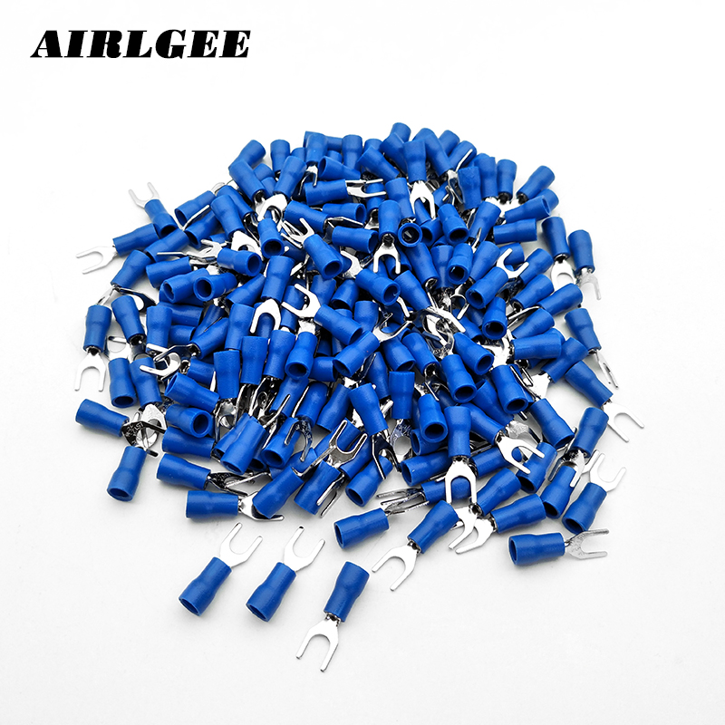 200 Pcs/pack Sv1.25-4 Awg 22-16 Blue Pre Insulated Fork Terminals Cable Connector U-type Crimp Pressed Terminals Free Shipping