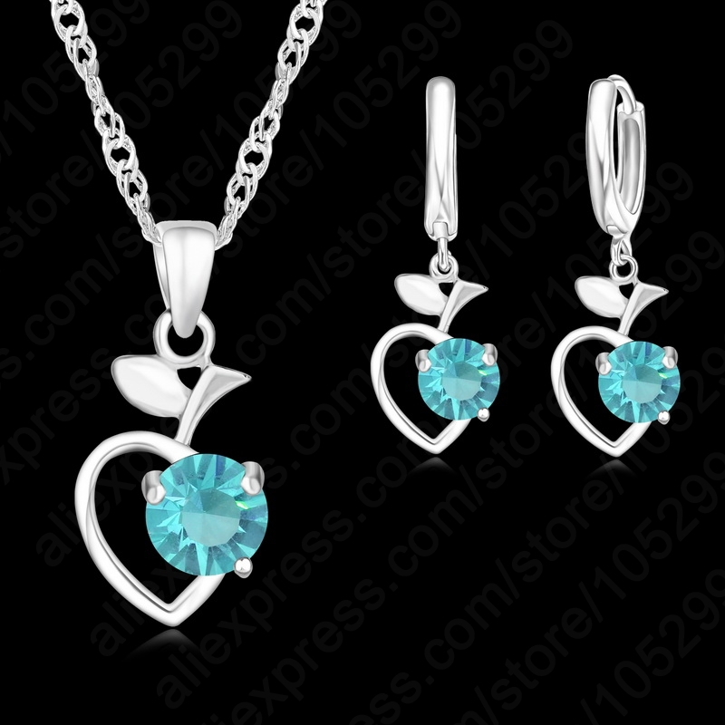 Free Shipping New Heart CZ Crystal Rhinestone Necklace Earrings Set For Women font b Engagement b