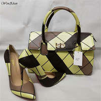 Latest High Heel Shoes With Matching Bag WENZHAN Shining Leather heel pointed toe women shoes With Pretty HandBags A91 1