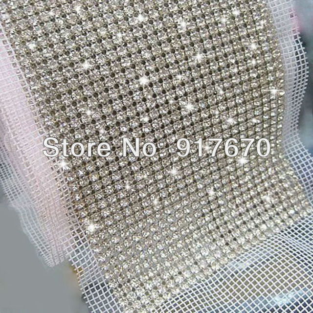 4c3e784b74 US $160.91  24 rows sew on SS16 crystal rhinestone mesh banding trim Silver  base White fabric Use for decoration 5yards/roll-in Rhinestones from Home  ...