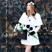 Original 2016 Brand Autumn and Winter 2 Pieces Set Cape Slim Elegant Wool Skirt Long Coats Poncho Jacket Women Cloak