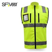 SFVest высокая видимость светоотражающий защитный жилет отражающий жилет Мульти Карманы Спецодежда Предупреждение спасательный жилет