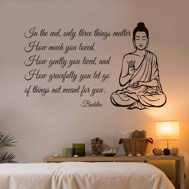Dctop Only Three Things Matter Yoga Gym Decor Buddha Wall Sticker