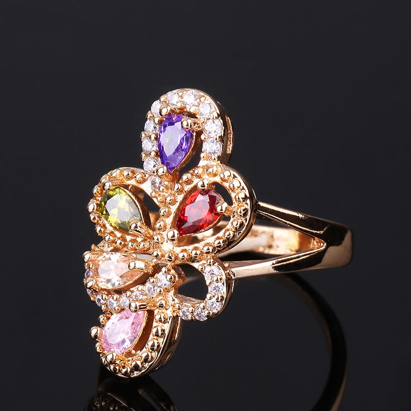 CWEEL Weeding Engagement Rings For Women Austrian Imitation Crystal Zircon Ring Rose Gold Color India Dubai Big Water Drop Rings (10)