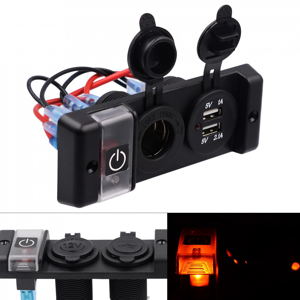 12V IP66 16A Dual USB Car Charger Three Bit Power Control Switch Panel with Cigarette Socket and Red Light for Automobile