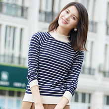 women winter keep worm Wool Half collar sweater slim striped knitted  Pullover wool cashmere coat promotion