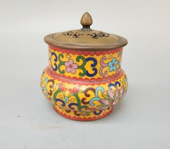 Chinese pure brass flower type cloisonne incense burner