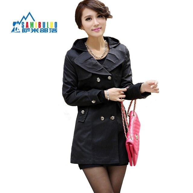 2014 de la mujer delgada ol de las mujeres elegantes prendas de vestir exteriores ocasional trinchera femenina con capucha