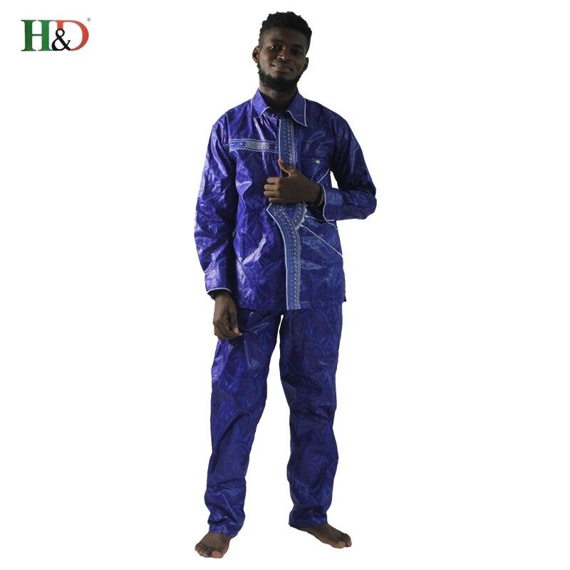 2018 afrikanske menn klær nye mote bazin riche sett mann topper og - Nasjonale klær - Bilde 2