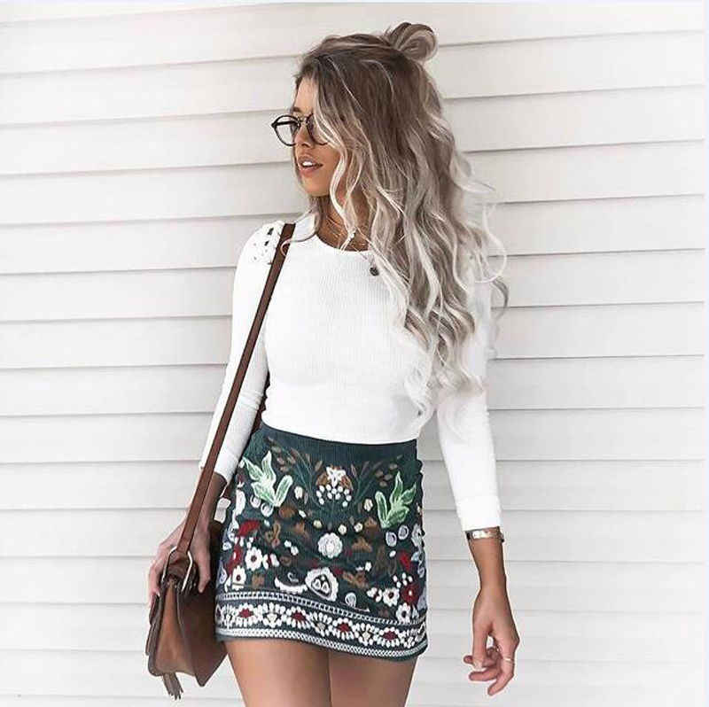 2c887a78d1c7 New Fashion Women's Ladies Girls Ethnic Boho Floral Printed Graphic Short  Jean High Waist Zipper Mini