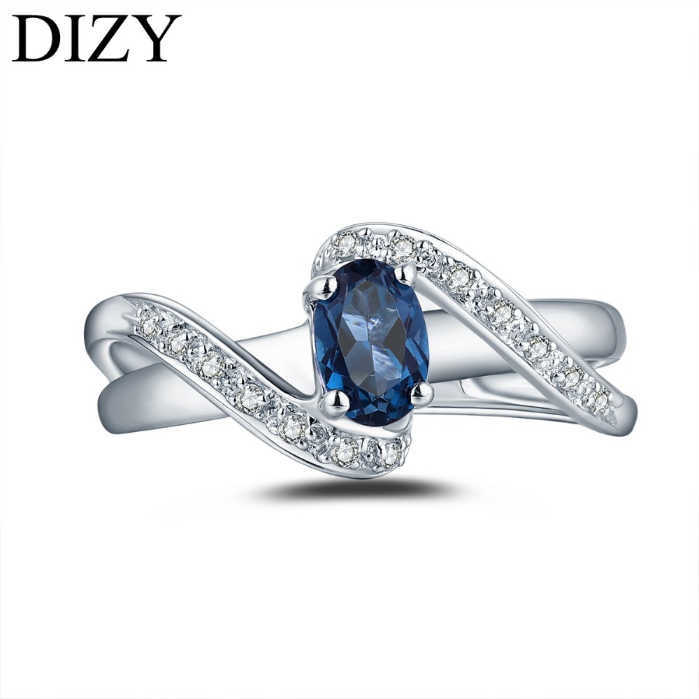 DIZY Oval 0 5CT Natural London Blue Topaz Ring 925 Sterling Silver Gemstone Ring for Women Gift Wedding Ring Engagement Jewelry in Rings from Jewelry Accessories