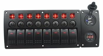 IZTOSS rojo led DC12/24 V 8 Gang on-off rocker switch curvado panel voltímetro y 3.1A USB enchufes y disyuntor con etiqueta