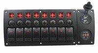 IZTOSS rote led DC12/24 V 8 Gang ein-aus-wippenschalter gebogene panel voltmeter und 3.1A USB steckdosen und leistungsschalter mit label