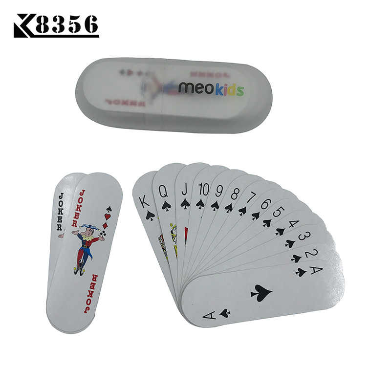 K8356 1Set Strip Paper Poker Texas Hold'em Paper Playing Cards Smooth Poker Cards For Children Board Game Card 1.496*5.04 inch