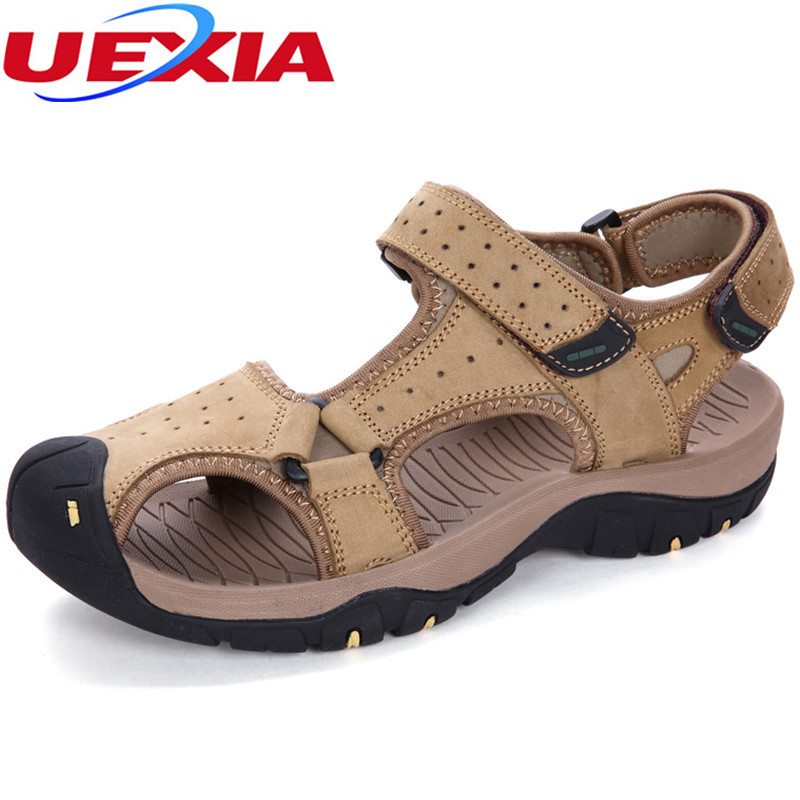 Summer Men Sandals Comfortable Leather Beach Casual Flats Shoes For Mens Outdoor Causal Walking Soft Massage Sandals Handmade