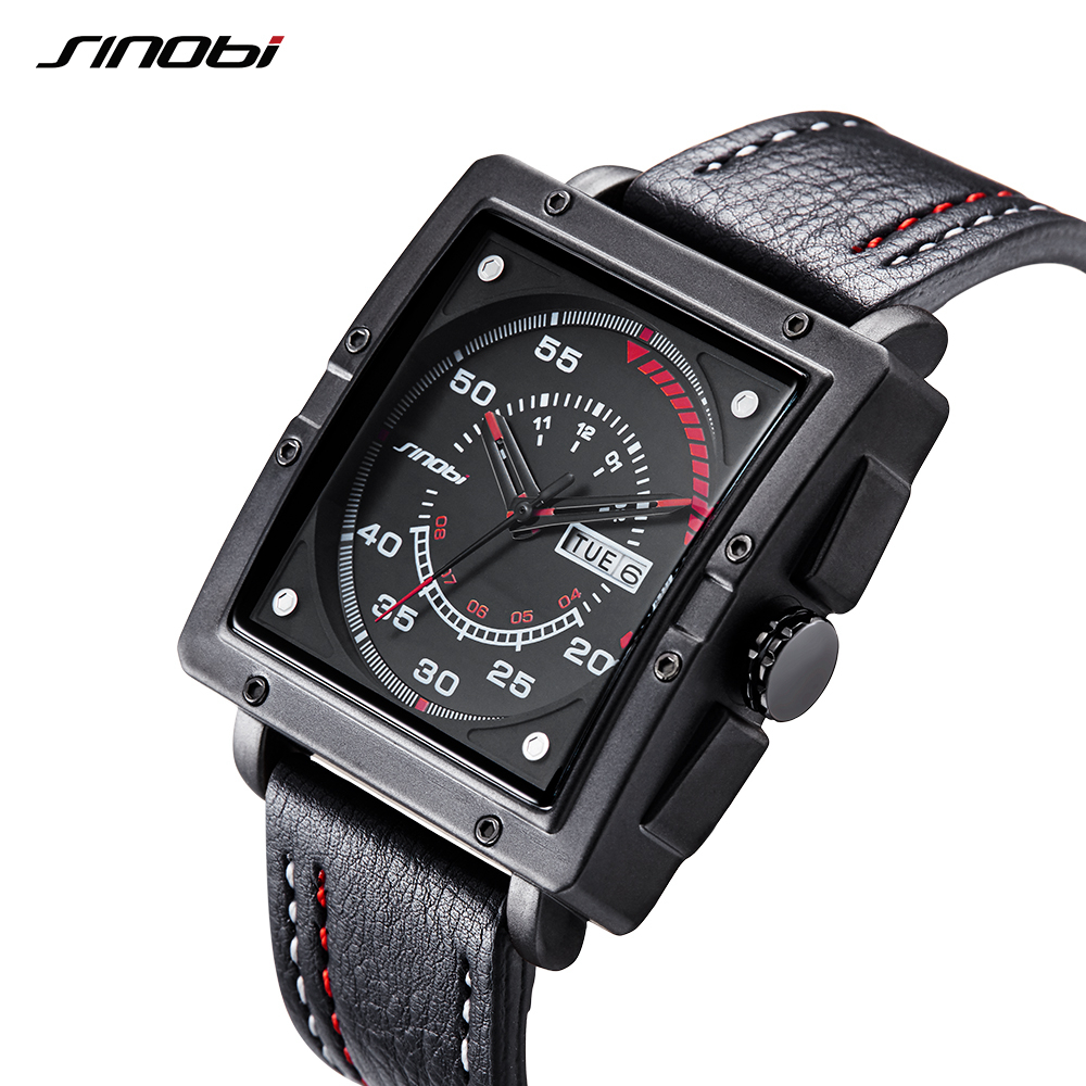 SINOBI Wrist Watch Top Brand Luxury Men's Watch Men Watch Auto Date Week Waterproof Sport Watches Square Clock reloj hombre cuccio 240g