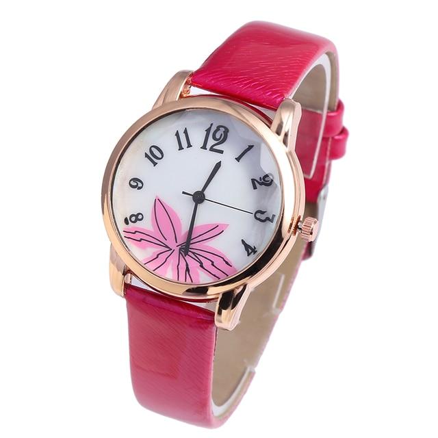 Новая женская цветок платье циферблате Для женщин простой Стиль кварцевые часы для девочек Роскошные часы Famale Повседневное наручные часы