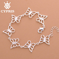 2017 CYPRIS Hot Butterfly Bracelet Lose money sale  Fashion  silver 8inch  rolo chain bracelet animal chic Factory Price CYPRIS