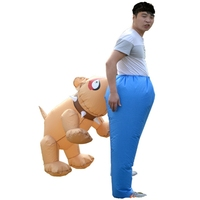 prettyia Lightweight Funny Dog Bite Ass Inflatable Adult Costume Animal Cosplay for Halloween Birthday Fancy Dress