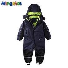 Mingkids Синий комбинезон мальчик осень теплая зима с частично флисовой подкладкой водонепроницаемый ветронепродуваемый верхняя одежда для детей фирменная одежда Финляндия Норвегия мембрана лыжный костюм комбинезон