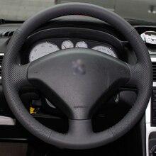 Noir Véritable En Cuir BRICOLAGE à La Main Couvercle Du Volant cousu pour Peugeot 307 Voiture