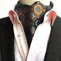 Hombres Marrón Azul Vintage Geométrico de La Flor de La Boda Corbata Ascot Lazos BWTHZ0157