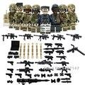8 pçs/lote militar Do Exército soldados com armas e armas building blocks crianças de Comunicação e brinquedos de aprendizagem