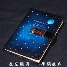 Bloqueio de senha caderno diário criativo notebook 130 folhas 260 páginas estudantes segredo manter caderno diário