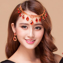 2018 Women Dancewear Jewelry Set for Dance (Headpiece/Necklace + earrings) 2pcs Diamond Jewelries Set Belly Dance Accessories(China)