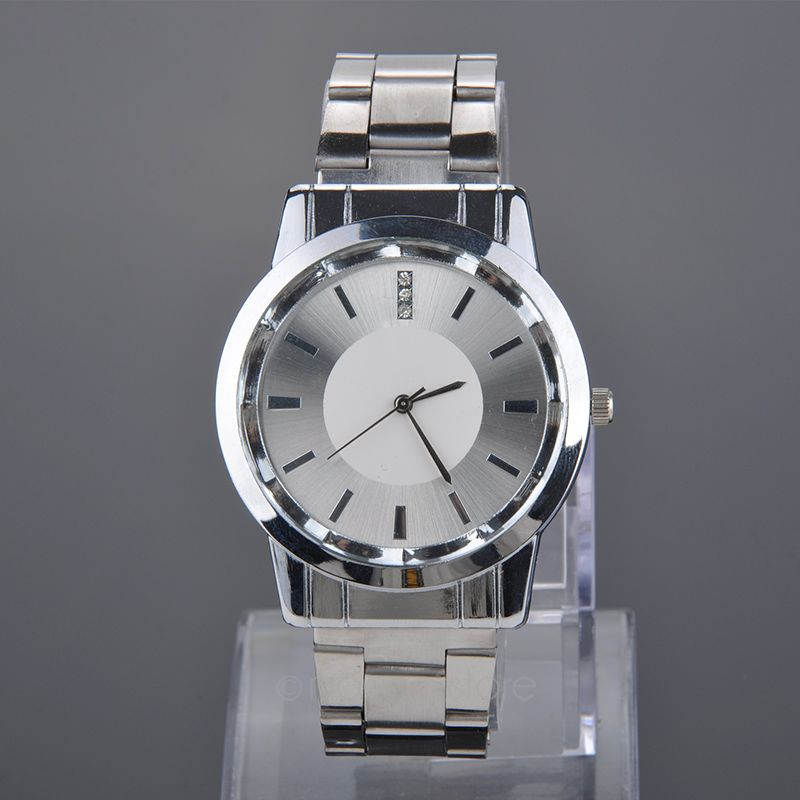 Fashion Men Round Stainless Steel Band Rhinestones Quartz Wrist Watches Rhinestones Couple Watches Timepieces for Lovers new fashion full stainless steel silver web band dress quartz wrist watch wristwatches for men women lovers couple