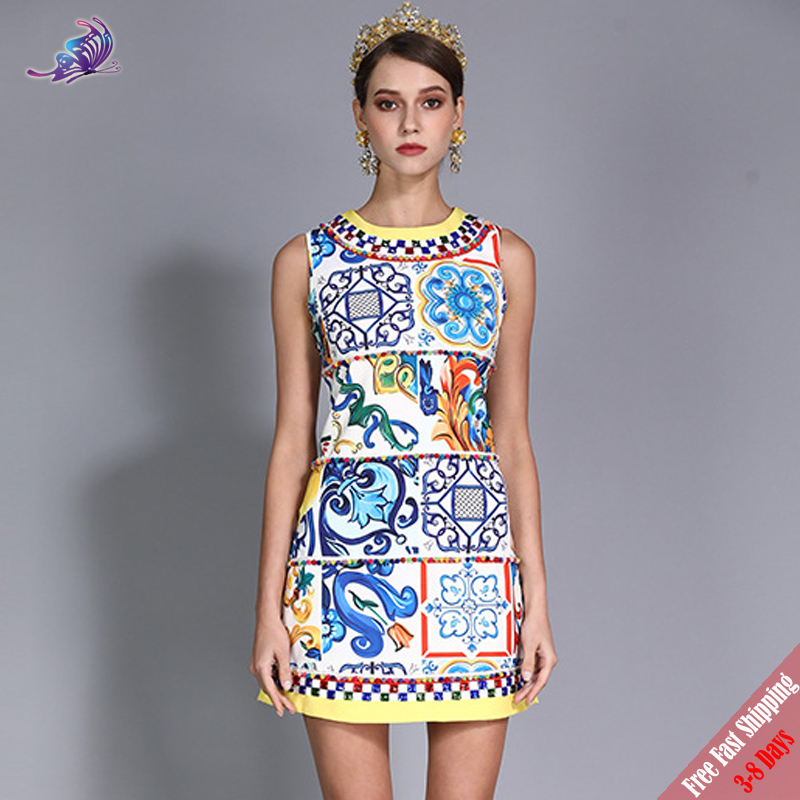addfcab6c76 Designer Runway Dress Sleeveless Vintage Floral Rrinted Women Summer Tank  Dress