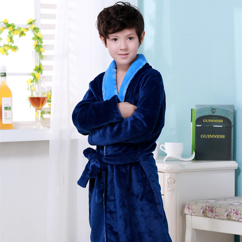 New Year Gift Winter Spring Cartoon Mickey Children Flannel Robe 2 Colors Soft  Pajamas Bathrobe For Boys Kids Sleepwear