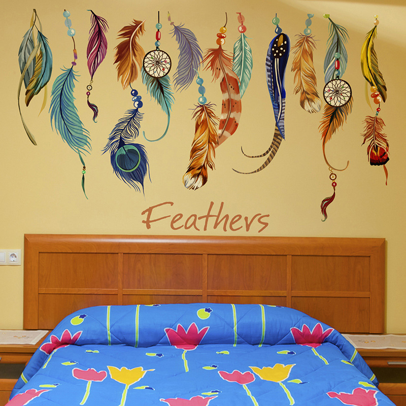 New Originality Rainbow Wild Feather Wall Sticker Kids Rooms Natural House Decoration Diy Home Decor Stickers Free Shipping