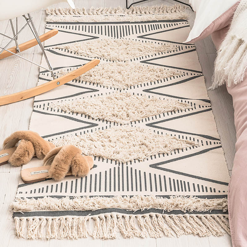 Morocco Cotton Hand Woven Printed Area Rugs Tufted Tassels with Anti Skid Pad Throw Rug Machine