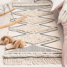 Марокканский хлопковый тканый коврик с рисунком, ворсистые кисточки с противоскользящей подложкой, коврик для ванной, машинная стирка, коврик для двери
