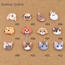 fashion lychee Cute Lovely Animal Keychain Soft Rubber Pug Cat Dog Rabbit Key Cover Cap Key Ring Bag Charms Key Chain Toys(China)