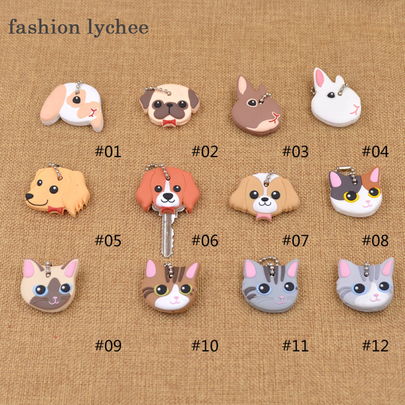 fashion lychee Cute Lovely Animal Keychain Soft Rubber Pug Cat Dog Rabbit Key Cover Cap Key Ring Bag Charms Key Chain Toys