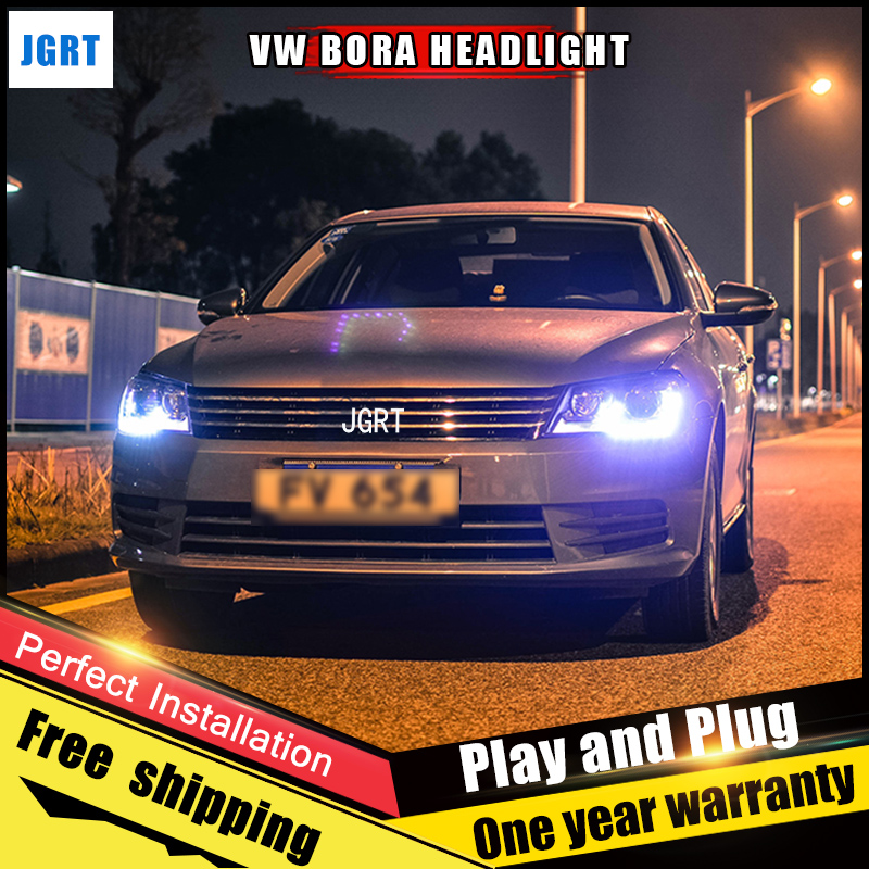 2PCS Car Style LED headlights for VW BORA 2015 for BORA head lamp LED Lens Double Beam H7 HID Xenon bi xenon lens for volkswagen polo mk5 vento cross polo led head lamp headlights 2010 2014 year r8 style sn