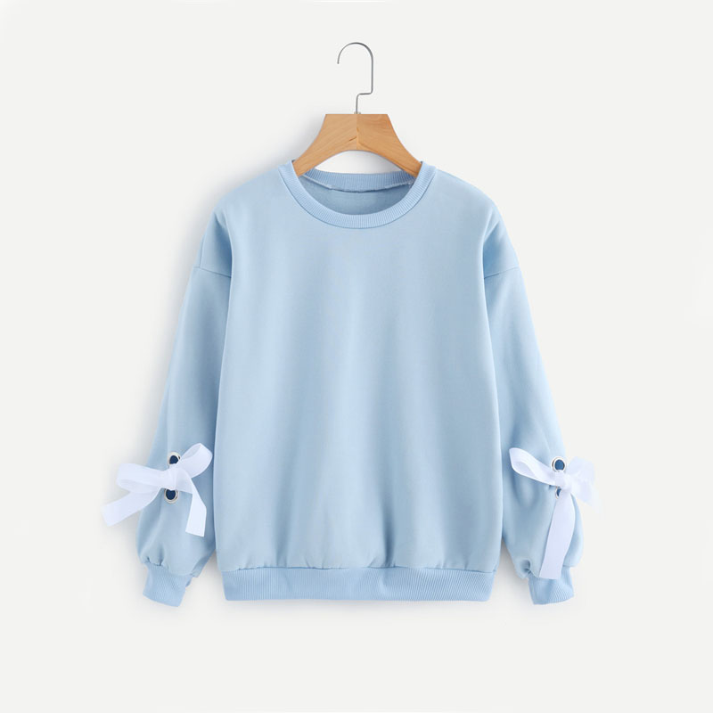 Eyelet Tie Sleeve Sweatshirt For Women