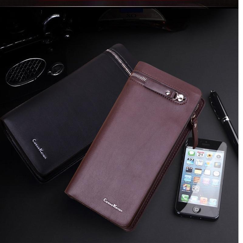 Új 2019 luxus cipzáras férfi pénztárca nagy kapacitású valódi bőr márka férfi kuplung pénztárca erszényes férfi kézitáska mobiltelefon