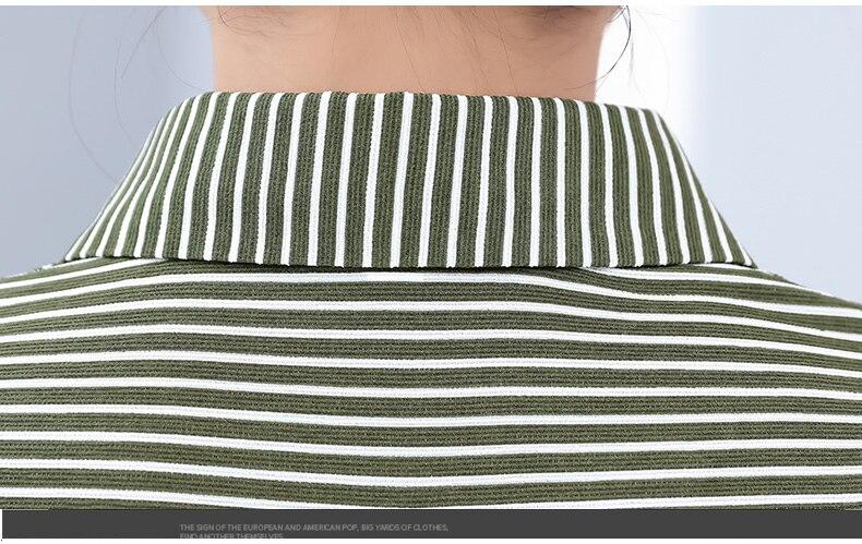Women Casual Shirts Vertical Stripe Blouses Woman Three Quater Sleeve Top Mother Leisure Shirt Green Black Khaki Stripes Blouse (20)