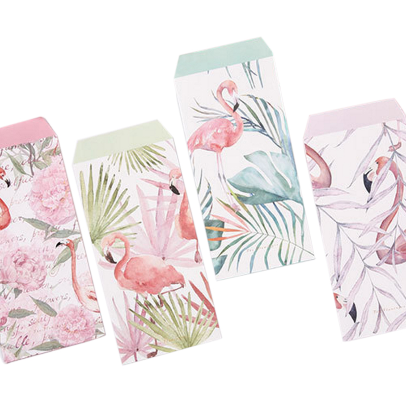1Pack/lot Kawaii Flamingos Flower Planting 3 Envelopes + 6 Sheets Letter Paper Set For Gift School Office Supplies