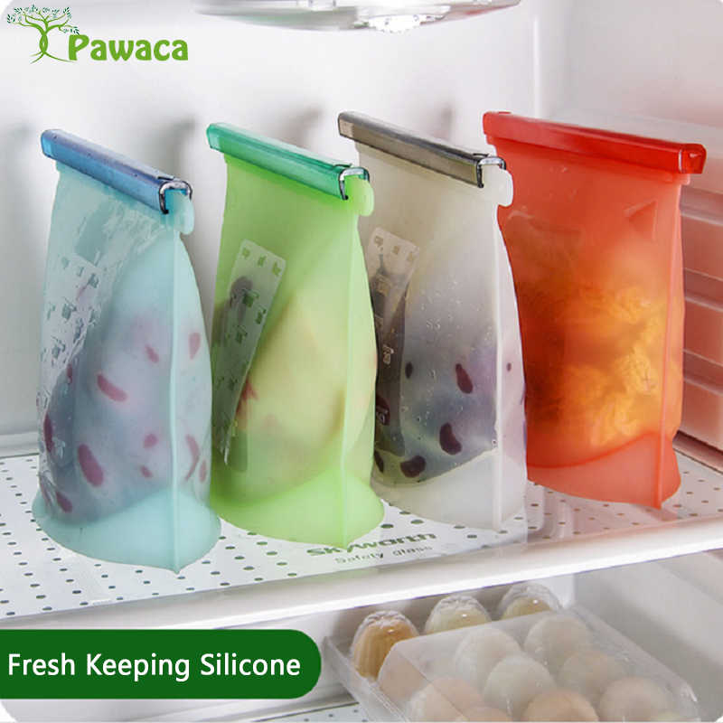 4pcs Food Grade Silicone Fresh Keeping Bag Reusable Silicone Bags Vacuum Food Fresh Bags Wraps Fridge Food Storage Container