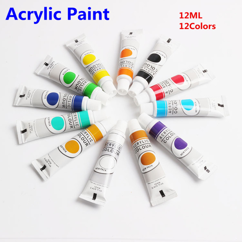цена на 12 Colors Acrylic Paint Color Set Professional Acrylic Paints Pigment for Artists 12 Tubes 12ML Nail Art Painting Drawing Tool