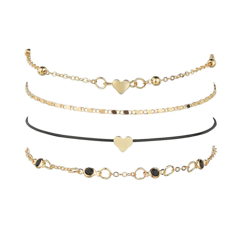 Fashion Heart Ankle Layering Pendant Anklet Beaded Foot Jewelry Summer Beach Anklets On Bracelets For Women Leg Chain