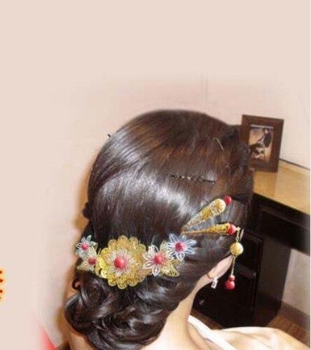 3 Piece Set Bride Wedding Hair Comb Hanfu Costume Xiu He Fu Wedding Use Hair Jewelry 00009 red gold bride wedding hair tiaras ancient chinese empress hair piece