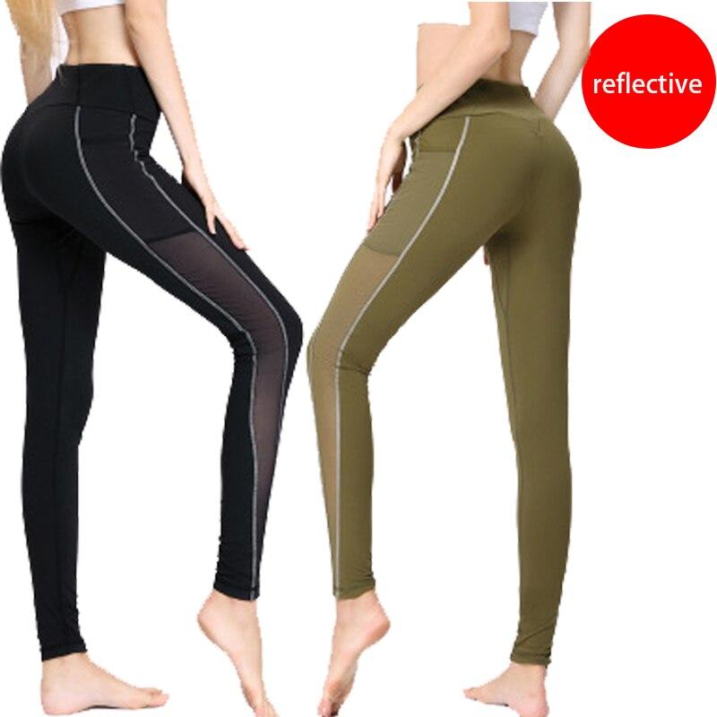 Leggings réfléchissants brillent dans le noir nuit lumière rayures Laser Fitness Yoga pantalons collants Sportswear survêtement femmes femme