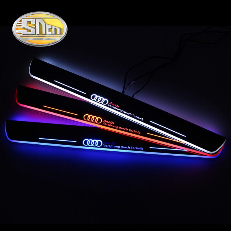 SNCN 4PCS Acrylic Moving LED Welcome Pedal Car Scuff Plate Pedal Door Sill Pathway Light For Audi A6 S6 C7 2013 2014 2015 fsylx led door moving scuff welcome pedal door sill plate light for audi q3 2013 2015 white led pedal light for q7 2006 2015