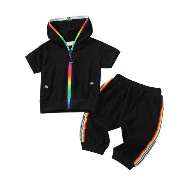 Детская одежда для маленьких мальчиков и девочек спортивная Короткий рукав Красочные молнии с капюшоном Костюмы для девочек и мальчиков комплект одежды для детей летний комплект